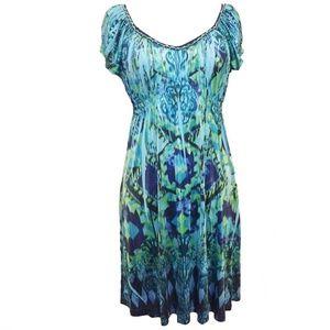 One World Turquoise Blue Sublimation Print Dress M